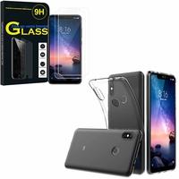 """Xiaomi Redmi Note 6 Pro 6.26"""": Etui Housse Pochette Accessoires Coque gel UltraSlim - TRANSPARENT + 2 Films de protection d'écran Verre Trempé"""