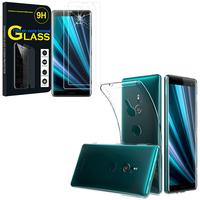 """Sony Xperia XZ3/ XZ3 DUAL SIM 6.0"""": Etui Housse Pochette Accessoires Coque gel UltraSlim - TRANSPARENT + 2 Films de protection d'écran Verre Trempé"""