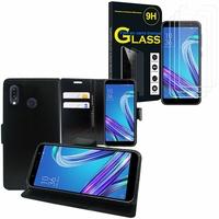"""Asus Zenfone Max Pro (M1) ZB601KL/ ZB602KL 5.99"""": Etui Coque Housse Pochette Accessoires portefeuille support video cuir PU - NOIR + 3 Films de protection d'écran Verre Trempé"""
