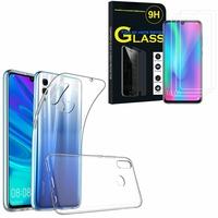 """Huawei Honor 10 Lite 6.21"""" HRY-AL00/ HRY-AL00a/ HRY-TL00: Etui Housse Pochette Accessoires Coque gel UltraSlim - TRANSPARENT + 3 Films de protection d'écran Verre Trempé"""