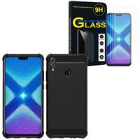 """Huawei Honor 8X 6.5"""": Coque Housse Silicone Souple en Fibre de Carbone Brossé motif TPU Case - NOIR + 3 Films de protection d'écran Verre Trempé"""