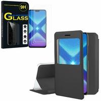"""Huawei Honor 8X 6.5"""": Etui View Case Flip Folio Leather cover - NOIR + 3 Films de protection d'écran Verre Trempé"""