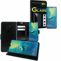 """Huawei Mate 20 6.53"""" HMA-L09/ HMA-L29: Etui Coque Housse Pochette Accessoires portefeuille support video cuir PU - NOIR + 3 Films de protection d'écran Verre Trempé"""