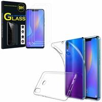 """Huawei P Smart+/ P Smart Plus/ Nova 3i 6.3"""" INE-LX1/ LX2/ L21: Etui Housse Pochette Accessoires Coque gel UltraSlim - TRANSPARENT + 3 Films de protection d'écran Verre Trempé"""