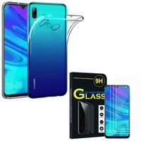 """Huawei P Smart (2019) 6.21"""" POT-LX3/ POT-LX1/ POT-AL00/ POT-LX1AF/ POT-LX2J/ POT-LX1RUA: Etui Housse Pochette Accessoires Coque gel UltraSlim - TRANSPARENT + 3 Films de protection d'écran Verre Trempé"""