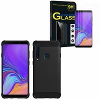 """Samsung Galaxy A9 (2018) 6.3"""" SM-A920F/ Galaxy A9S/ A9 Star Pro: Coque Housse Silicone Souple en Fibre de Carbone Brossé motif TPU Case - NOIR + 3 Films de protection d'écran Verre Trempé"""