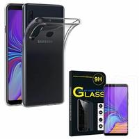 """Samsung Galaxy A9 (2018) 6.3"""" SM-A920F/ Galaxy A9S/ A9 Star Pro: Etui Housse Pochette Accessoires Coque gel UltraSlim - TRANSPARENT + 3 Films de protection d'écran Verre Trempé"""