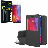 "Xiaomi Mi 8/ Xiaomi Mi8 6.21"": Etui View Case Flip Folio Leather cover - NOIR + 3 Films de protection d'écran Verre Trempé"