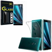"""Sony Xperia XZ3/ XZ3 DUAL SIM 6.0"""": Etui Housse Pochette Accessoires Coque gel UltraSlim - TRANSPARENT + 3 Films de protection d'écran Verre Trempé"""
