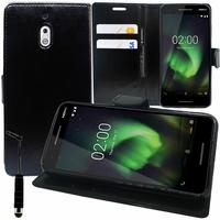 """Nokia 2.1 (2018) 5.5"""" (non compatible Nokia 2 (2017) 5.0"""") [Les Dimensions EXACTES du telephone: 153.6 x 77.6 x 9.7 mm]: Accessoire Etui portefeuille Livre Housse Coque Pochette support vidéo cuir PU + mini Stylet - NOIR"""
