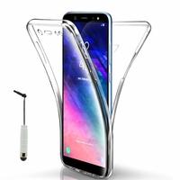 """Samsung Galaxy A6 (2018) 5.6""""/ A6 2018 Dual SIM (non compatible Galaxy A6+/ A6 Plus (2018) 6.0""""): Coque Housse Silicone Gel TRANSPARENTE ultra mince 360° protection intégrale Avant et Arrière + mini Stylet - TRANSPARENT"""