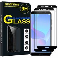 """Huawei Y6 Prime (2018) 5.7"""" ATU-L31 ATU-L42 [Les Dimensions EXACTES du telephone: 152.4 x 73 x 7.8 mm]: Lot / Pack de 2 Films de protection d'écran Verre Trempé"""