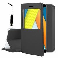 """Huawei Enjoy 8E 5.7"""" ATU-AL10 ATU-TL10 (non compatible Huawei Enjoy 8E YOUTH 5.45""""): Etui View Case Flip Folio Leather cover + mini Stylet - NOIR"""