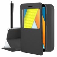 """Huawei Enjoy 8E 5.7"""" ATU-AL10 ATU-TL10 (non compatible Huawei Enjoy 8E YOUTH 5.45""""): Etui View Case Flip Folio Leather cover + Stylet - NOIR"""