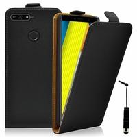 """Huawei Enjoy 8E 5.7"""" ATU-AL10 ATU-TL10 (non compatible Huawei Enjoy 8E YOUTH 5.45""""): Accessoire Housse Coque Pochette Etui protection vrai cuir à rabat vertical + mini Stylet - NOIR"""