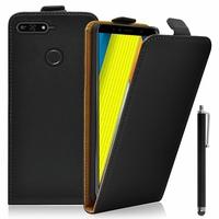 """Huawei Enjoy 8E 5.7"""" ATU-AL10 ATU-TL10 (non compatible Huawei Enjoy 8E YOUTH 5.45""""): Accessoire Housse Coque Pochette Etui protection vrai cuir à rabat vertical + Stylet - NOIR"""