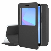 "Huawei Y6 Prime (2018) 5.7"" ATU-L31 ATU-L42 [Les Dimensions EXACTES du telephone: 152.4 x 73 x 7.8 mm]: Etui View Case Flip Folio Leather cover - NOIR"