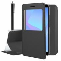 "Huawei Y6 Prime (2018) 5.7"" ATU-L31 ATU-L42 [Les Dimensions EXACTES du telephone: 152.4 x 73 x 7.8 mm]: Etui View Case Flip Folio Leather cover + Stylet - NOIR"