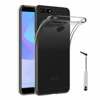 "Huawei Y6 Prime (2018) 5.7"" ATU-L31 ATU-L42 [Les Dimensions EXACTES du telephone: 152.4 x 73 x 7.8 mm]: Accessoire Housse Etui Coque gel UltraSlim et Ajustement parfait + mini Stylet - TRANSPARENT"