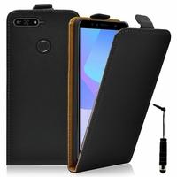 """Huawei Y6 Prime (2018) 5.7"""" ATU-L31 ATU-L42 [Les Dimensions EXACTES du telephone: 152.4 x 73 x 7.8 mm]: Accessoire Housse Coque Pochette Etui protection vrai cuir à rabat vertical + mini Stylet - NOIR"""