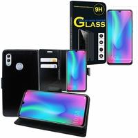 """Huawei Honor 10 Lite 6.21"""" HRY-AL00/ HRY-AL00a/ HRY-TL00: Etui Coque Housse Pochette Accessoires portefeuille support video cuir PU - NOIR + 1 Film de protection d'écran Verre Trempé"""