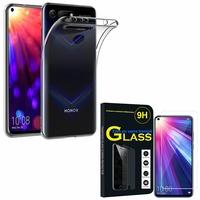 """Huawei Honor View 20 6.4""""/ Honor View20/ Honor V20: Etui Housse Pochette Accessoires Coque gel UltraSlim - TRANSPARENT + 1 Film de protection d'écran Verre Trempé"""