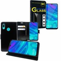 """Huawei P Smart (2019) 6.21"""" POT-LX3/ POT-LX1/ POT-AL00/ POT-LX1AF/ POT-LX2J/ POT-LX1RUA: Etui Coque Housse Pochette Accessoires portefeuille support video cuir PU - NOIR + 1 Film de protection d'écran Verre Trempé"""