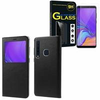 """Samsung Galaxy A9 (2018) 6.3"""" SM-A920F/ Galaxy A9S/ A9 Star Pro: Etui View Case Flip Folio Leather cover - NOIR + 1 Film de protection d'écran Verre Trempé"""