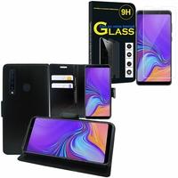 """Samsung Galaxy A9 (2018) 6.3"""" SM-A920F/ Galaxy A9S/ A9 Star Pro: Etui Coque Housse Pochette Accessoires portefeuille support video cuir PU - NOIR + 1 Film de protection d'écran Verre Trempé"""