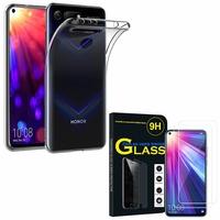"""Huawei Honor View 20 6.4""""/ Honor View20/ Honor V20: Etui Housse Pochette Accessoires Coque gel UltraSlim - TRANSPARENT + 2 Films de protection d'écran Verre Trempé"""