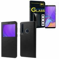 """Samsung Galaxy A9 (2018) 6.3"""" SM-A920F/ Galaxy A9S/ A9 Star Pro: Etui View Case Flip Folio Leather cover - NOIR + 2 Films de protection d'écran Verre Trempé"""