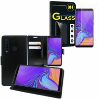 """Samsung Galaxy A9 (2018) 6.3"""" SM-A920F/ Galaxy A9S/ A9 Star Pro: Etui Coque Housse Pochette Accessoires portefeuille support video cuir PU - NOIR + 2 Films de protection d'écran Verre Trempé"""