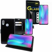 """Huawei Honor 10 Lite 6.21"""" HRY-AL00/ HRY-AL00a/ HRY-TL00: Etui Coque Housse Pochette Accessoires portefeuille support video cuir PU - NOIR + 3 Films de protection d'écran Verre Trempé"""