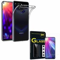 """Huawei Honor View 20 6.4""""/ Honor View20/ Honor V20: Etui Housse Pochette Accessoires Coque gel UltraSlim - TRANSPARENT + 3 Films de protection d'écran Verre Trempé"""