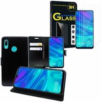 """Huawei P Smart (2019) 6.21"""" POT-LX3/ POT-LX1/ POT-AL00/ POT-LX1AF/ POT-LX2J/ POT-LX1RUA: Etui Coque Housse Pochette Accessoires portefeuille support video cuir PU - NOIR + 3 Films de protection d'écran Verre Trempé"""
