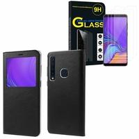 """Samsung Galaxy A9 (2018) 6.3"""" SM-A920F/ Galaxy A9S/ A9 Star Pro: Etui View Case Flip Folio Leather cover - NOIR + 3 Films de protection d'écran Verre Trempé"""