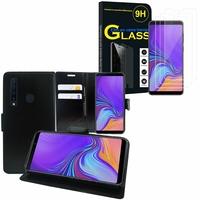 """Samsung Galaxy A9 (2018) 6.3"""" SM-A920F/ Galaxy A9S/ A9 Star Pro: Etui Coque Housse Pochette Accessoires portefeuille support video cuir PU - NOIR + 3 Films de protection d'écran Verre Trempé"""