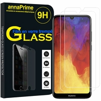 """Huawei Y6 (2019)/ Y6 Prime (2019) 6.09"""" (non compatible Huawei Y6 (2017)/ Y6 (2018)) [Les Dimensions EXACTES du telephone: 156.3 x 73.5 x 8 mm]: Lot / Pack de 2 Films de protection d'écran Verre Trempé"""