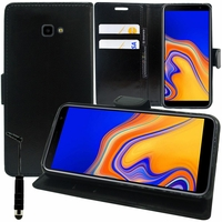 """Samsung Galaxy J4+/ J4 Plus (2018) 6.0"""" (non compatible Galaxy J4 5.5"""") [Les Dimensions EXACTES du telephone: 161.4 x 76.9 x 7.9 mm]: Accessoire Etui portefeuille Livre Housse Coque Pochette support vidéo cuir PU + mini Stylet - NOIR"""