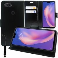 """Xiaomi Mi 8 Lite/ Mi8 Youth/ Mi 8X 6.26"""" M1808D2TE/ M1808D2TC (non compatible Xiaomi Mi 8 SE 5.88""""/ Mi 8 6.21""""/ Mi 8 Pro): Accessoire Etui portefeuille Livre Housse Coque Pochette support vidéo cuir PU + mini Stylet - NOIR"""