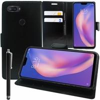 """Xiaomi Mi 8 Lite/ Mi8 Youth/ Mi 8X 6.26"""" M1808D2TE/ M1808D2TC (non compatible Xiaomi Mi 8 SE 5.88""""/ Mi 8 6.21""""/ Mi 8 Pro): Accessoire Etui portefeuille Livre Housse Coque Pochette support vidéo cuir PU + Stylet - NOIR"""