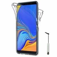 """Samsung Galaxy A7 (2018) 6.0"""" SM-A750F (non compatible Version 2014/ 2015/ 2016/ 2017): Coque Housse Silicone Gel TRANSPARENTE ultra mince 360° protection intégrale Avant et Arrière + mini Stylet - TRANSPARENT"""