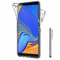 """Samsung Galaxy A7 (2018) 6.0"""" SM-A750F (non compatible Version 2014/ 2015/ 2016/ 2017): Coque Housse Silicone Gel TRANSPARENTE ultra mince 360° protection intégrale Avant et Arrière + Stylet - TRANSPARENT"""