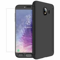 """Samsung Galaxy J4 (2018) 5.5"""" J400F/DS J400G/DS (non compatible Galaxy J4 Core 6.0""""/ Galaxy J4+/ J4 Plus 6.0""""): Coque de protection intégrale 360° Avant Et Arrière Ultra Mince Ultra Léger avec Verre Trempé pour l'Ecran - NOIR"""
