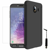 """Samsung Galaxy J4 (2018) 5.5"""" J400F/DS J400G/DS (non compatible Galaxy J4 Core 6.0""""/ Galaxy J4+/ J4 Plus 6.0""""): Coque de protection intégrale 360° Avant Et Arrière Ultra Mince Ultra Léger avec Verre Trempé pour l'Ecran + mini Stylet - NOIR"""