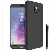 """Samsung Galaxy J4 (2018) 5.5"""" J400F/DS J400G/DS (non compatible Galaxy J4 Core 6.0""""/ Galaxy J4+/ J4 Plus 6.0""""): Coque de protection intégrale 360° Avant Et Arrière Ultra Mince Ultra Léger avec Verre Trempé pour l'Ecran + Stylet - NOIR"""