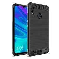"Huawei P Smart (2019) 6.21"" POT-LX3/ POT-LX1/ POT-AL00/ POT-LX1AF/ POT-LX2J/ POT-LX1RUA: Coque Housse Silicone Souple en Fibre de Carbone Brossé motif TPU Case - NOIR"
