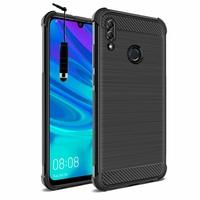 "Huawei P Smart (2019) 6.21"" POT-LX3/ POT-LX1/ POT-AL00/ POT-LX1AF/ POT-LX2J/ POT-LX1RUA: Coque Housse Silicone Souple en Fibre de Carbone Brossé motif TPU Case + mini Stylet - NOIR"