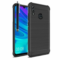 """Huawei P Smart (2019) 6.21"""" POT-LX3/ POT-LX1/ POT-AL00/ POT-LX1AF/ POT-LX2J/ POT-LX1RUA: Coque Housse Silicone Souple en Fibre de Carbone Brossé motif TPU Case + Stylet - NOIR"""