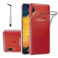 """Samsung Galaxy A20 6.4"""" SM-A205F/ A205F/DS (non compatible Galaxy A20e 5.8"""") [Les Dimensions EXACTES du telephone: 158.4 x 74.7 x 7.8 mm]: Accessoire Housse Etui Coque gel UltraSlim et Ajustement parfait + mini Stylet - TRANSPARENT"""